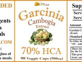 Pure Garcinia Cambogia Extract ingredients label